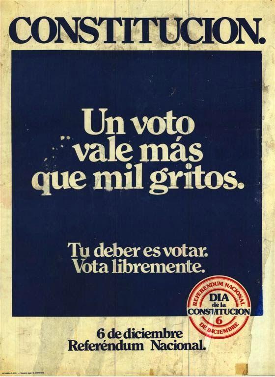 Cartel informativo político sobre votar la constitución