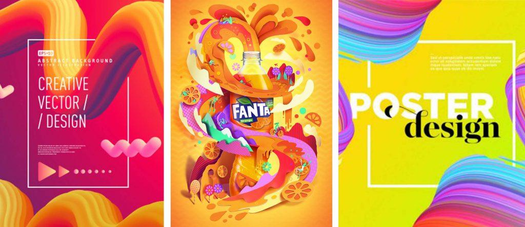 Tendencias diseño gráfico 3D color glossy