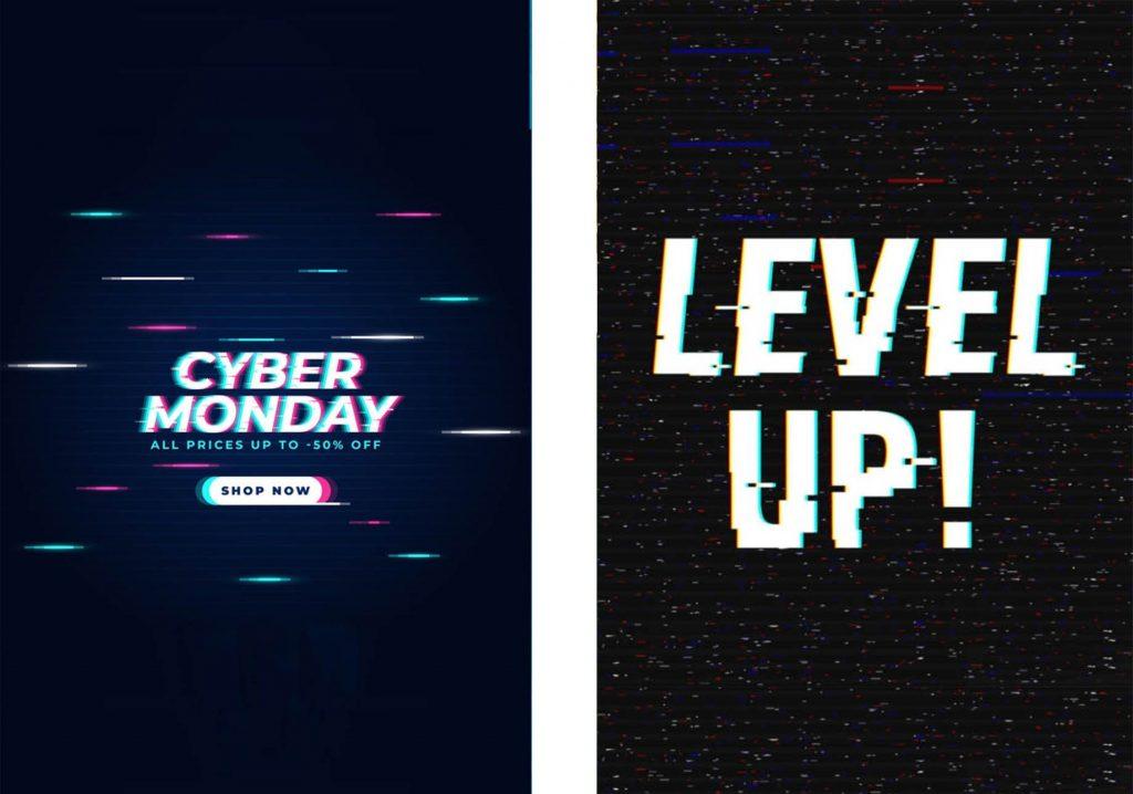 tendencia 2020 tipografia efecto glitch