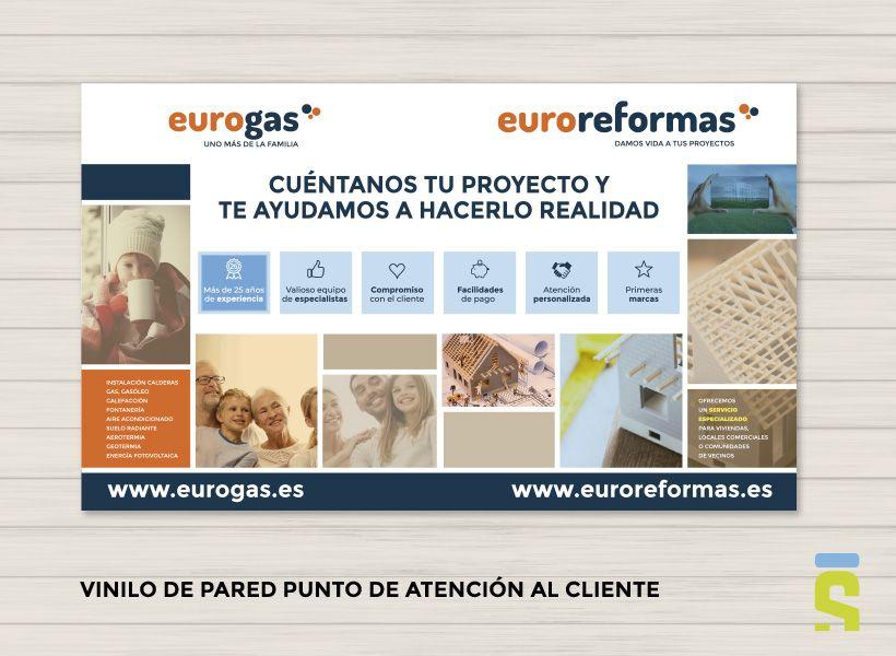 diseño de vinilo y escaparate Eurogas