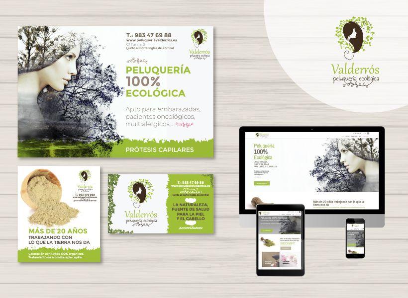 web, tarjetas de visita y autobús Peluquería Valderrós