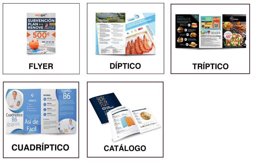 diferentes folletos para empresas