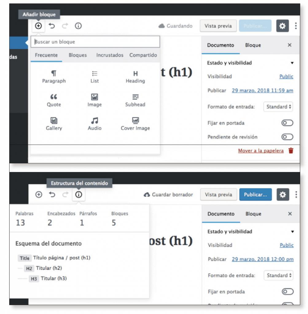barra de herramientas añadir bloque y estructura de contenido