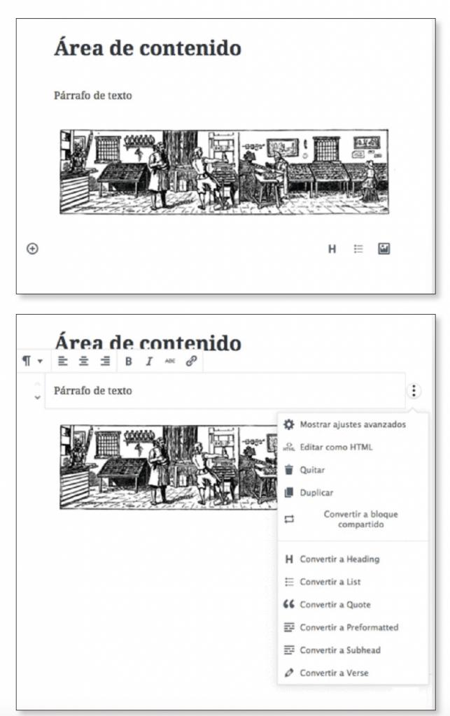 área de contenido en el editor Gutenberg
